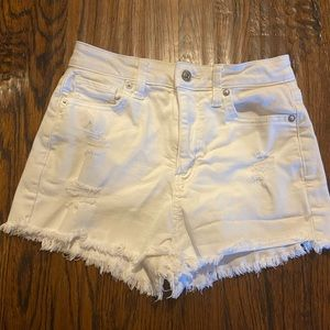 white high waisted american eagle jean shorts